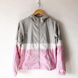 Garage Pink Grey White Colorblock Windbreaker Coat